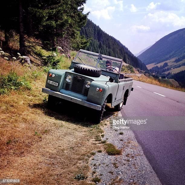 Old Land Rover Defender on the roadside