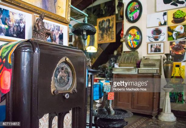 Old large radio at the Ileana Sanchez and Joel Jover house The Cuban artists collect old objects and their house is a tourist attraction They use the...