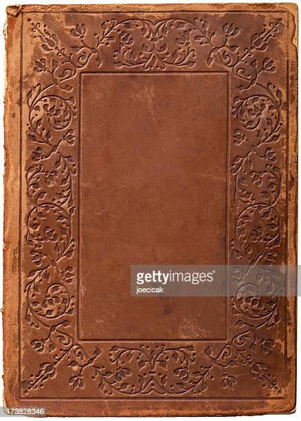 Vieille Couverture de livre en cuir fond