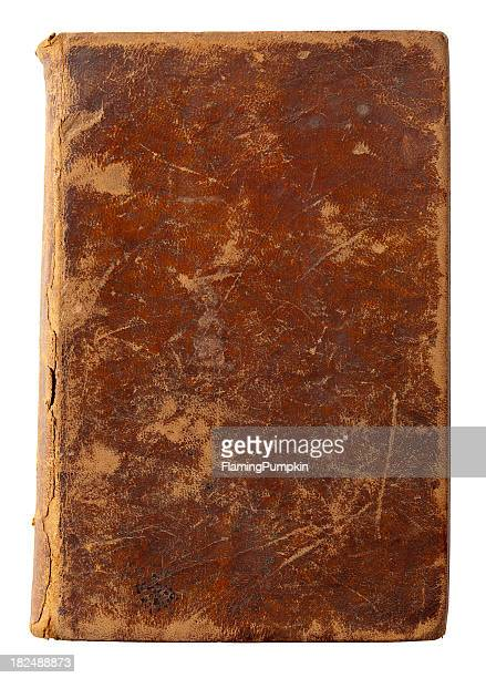 Old Leather Book Cover. White Background, Clipping Path.