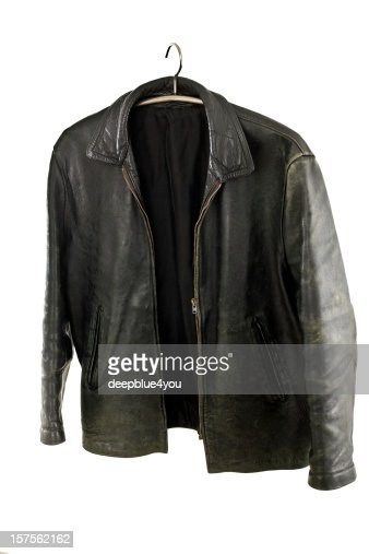 old leather jacket on a hanger, isolated