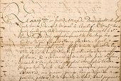 Old letter with handwritten text. Grunge vintage texture background