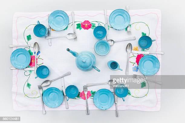 Old light blue enamel dolls china set