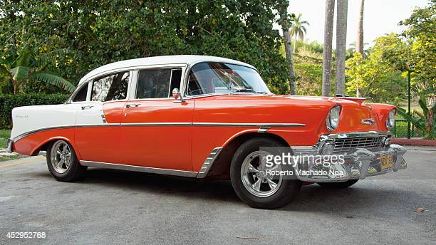 Old like new American Cars Chevrolet 57 or 1957 parked the government has allowed private transportation to solve the critical problems of the...