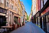 Old Ljubljana cobbled street view, capital of Slovenia