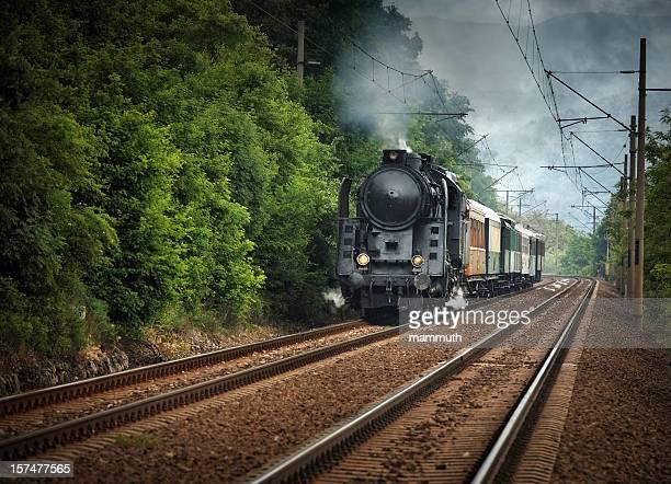 old locomotive running somewhere