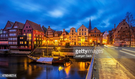 Old Luneburg (Luneberg) Harbour at night