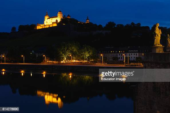 Old Main Bridge Marienberg Fortress and Main River W»rzburg UNESCO World Heritage Site Romantische Strasse Romantic Road Franconia Bavaria Germany...