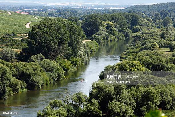 Old Main River, Muensterschwarzach in the distance, Mainschleife, loop in the Main River, Mainfranken, Lower Franconia, Franconia, Bavaria, Germany, Europe