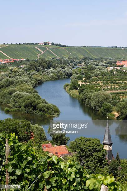Old Main River with the towns of Koehler, Escherndorf and Nordheim am Main, Mainschleife, loop in the Main River, Mainfranken, Lower Franconia, Franconia, Bavaria, Germany, Europe