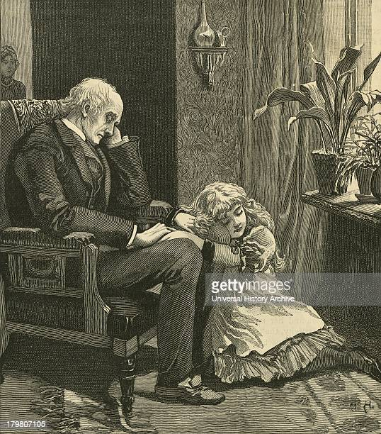 Old man and grandchild dozing in front of a window Engraving 1884