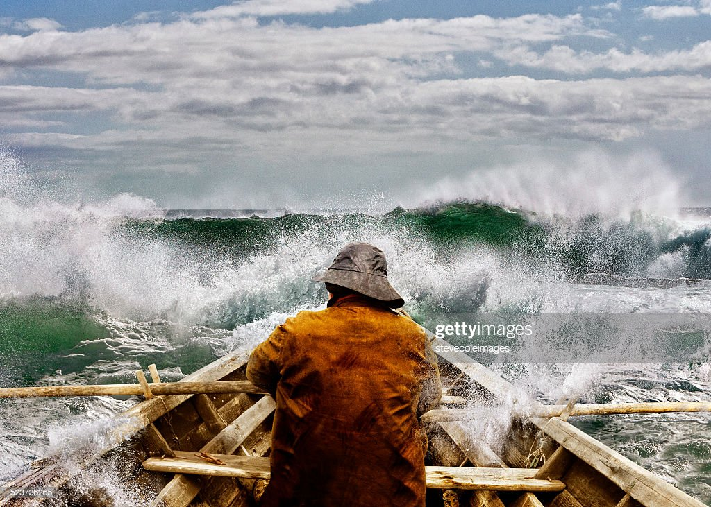 Old man and the Sea in a Skiff