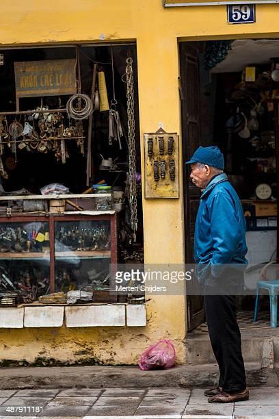 Old man at locksmith store