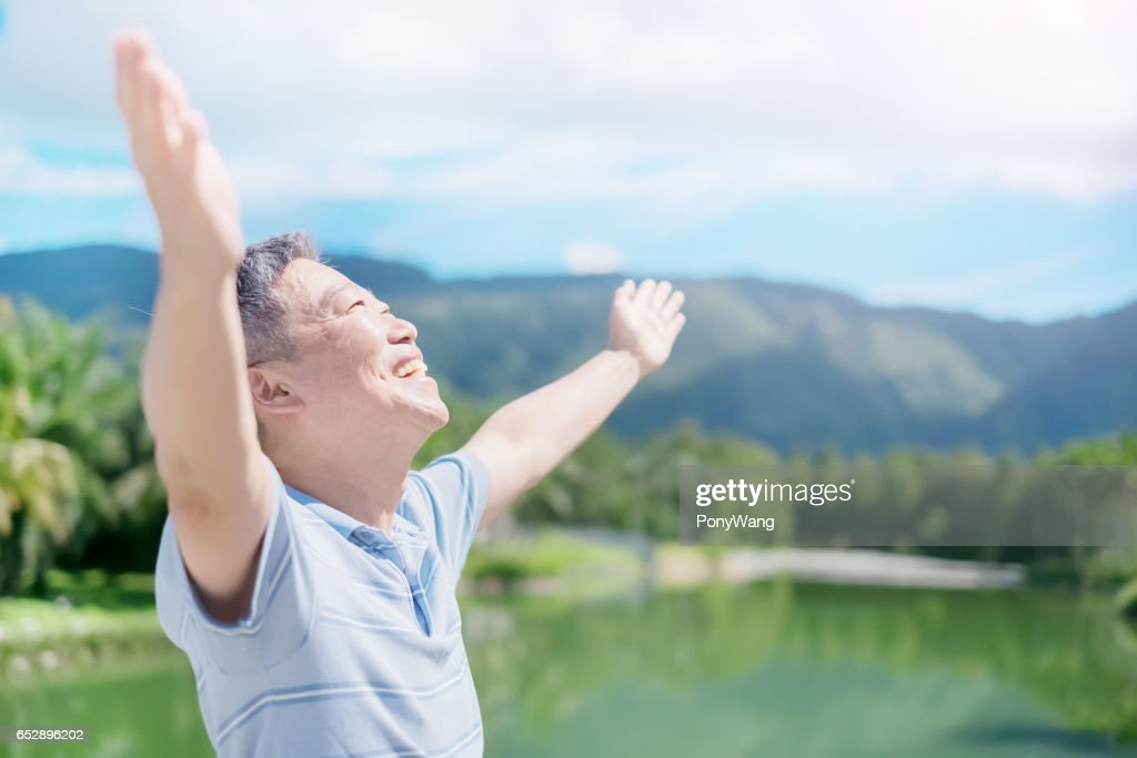old man feel free : Stock Photo