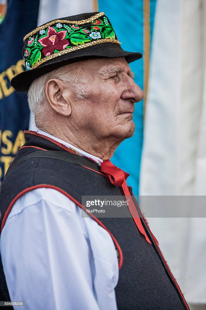 Old man in traditional polish costumes during the celebrations of the Corpus Christi, (Boze Cialo), in Lowicz, Poland, on May 26, 2016.