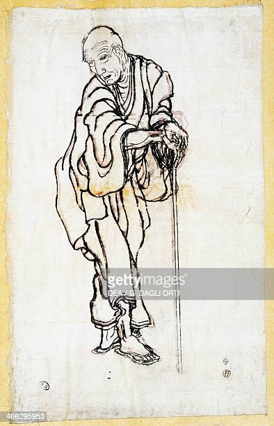 Old man leaning on his stick drawing by Ogata Korin Japanese civilisation Edo period 17th19th century