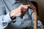 Old man, male hand holding a walking stick, nursing home, retirement home, Berlin, Germany, Europe