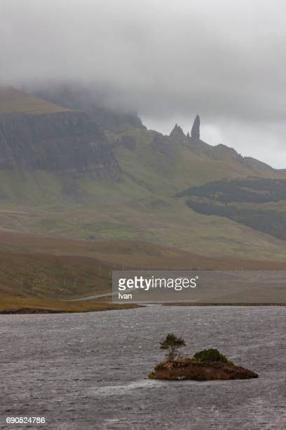 Old Man of Storr rock formation shrouded in clouds, Isle of Skye, UK