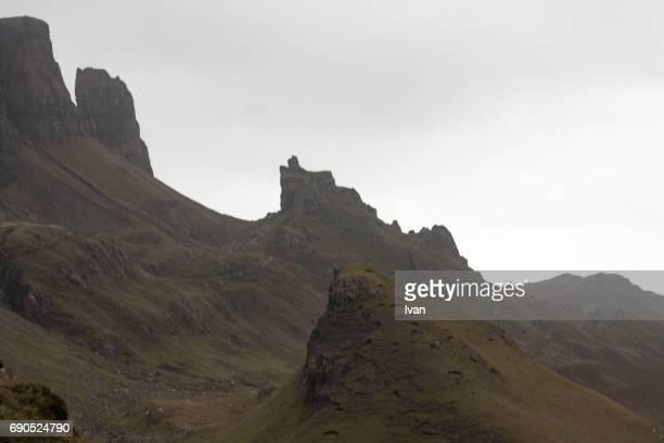 Old Man of Storr, Skye, Highland region in clouds, Scotland