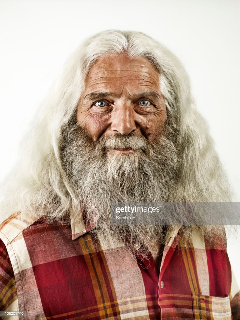 old man with beard & long white hair