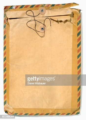 Old manila envelope with airmail tape : Stock Photo