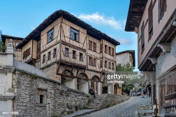 Old mansion of Safranbolu town showing  cobblestoned street  and other houses, Karabuk, Turkey