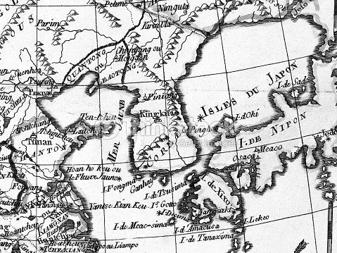 Map Of Asia Korean Peninsula.Old Map Korean Peninsula And East Asia Stock Photo Thinkstock