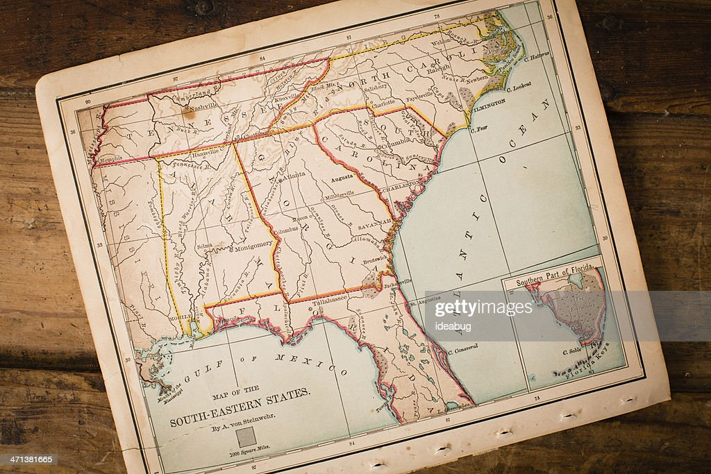 Old, Map of South Eastern States, Sitting Angled on Trunk