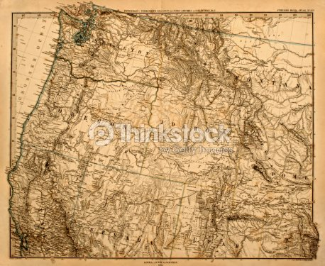 old map of the us pacific northwest stock photo