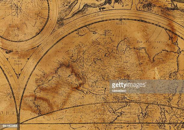 Old map with ancient view of continents and world division