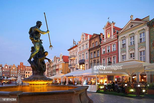 Old Market Square with fountain in Poznan