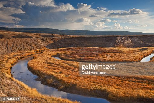 Old meanders of Yellowstone River, Wyoming, USA : Stock Photo