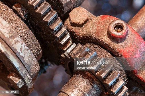 old mechanism with gear : Stock Photo