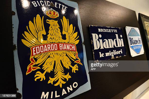 Old metal placards are displayed in a corridor of the Bianchi bicycle manufacturer offices on November 26 2012 in Treviglio Bianchi founded in 1885...