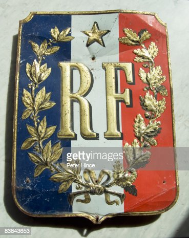 Old metal Republic of France sign : Stock Photo