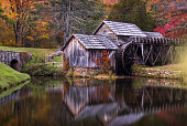 Mabry mill with fall foliage along the Blue Ridge Parkway in Virgina.
