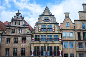 Old monumental facades  in Munster, Germany.