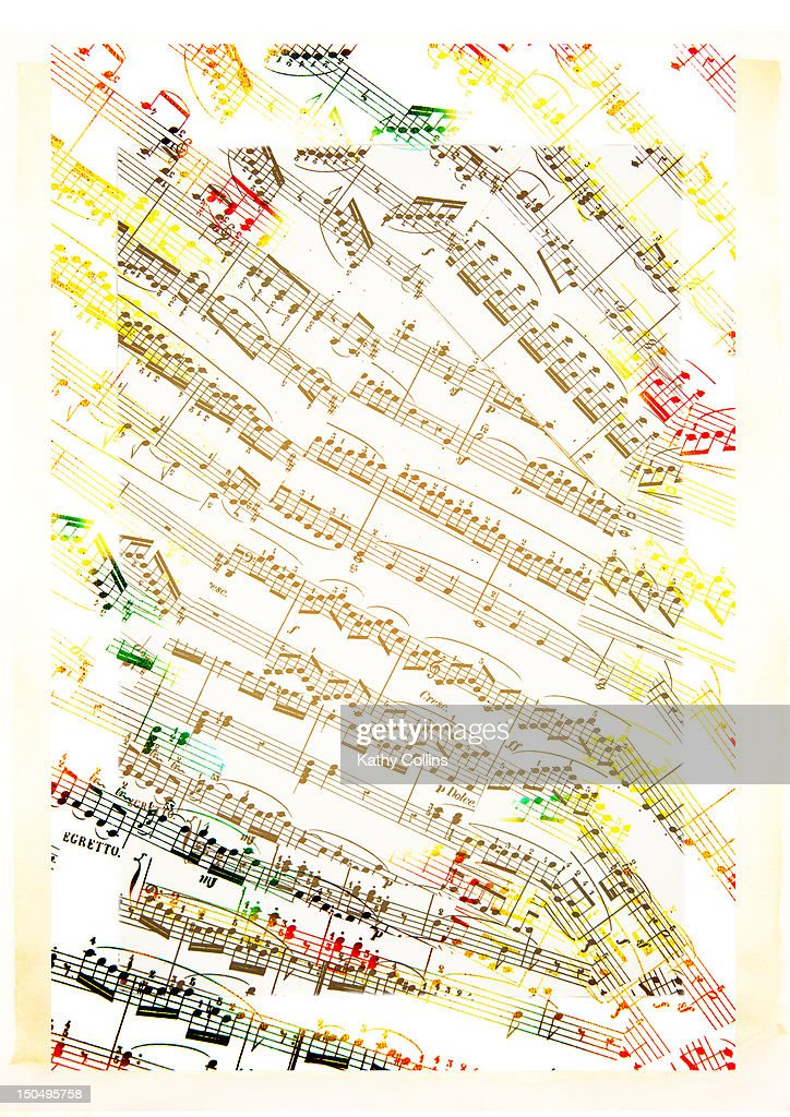 Old music sheets, collaged on parchment : Stock-Foto