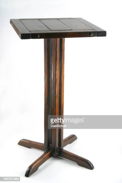 Old Nickknack Table Isolated, Wood Pedestal