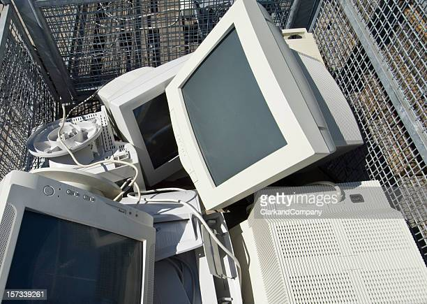 Old Obsolete Computer CRT Screens Discarded At Garbage Dump