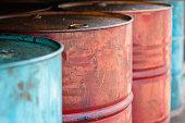 Old oil tanks background