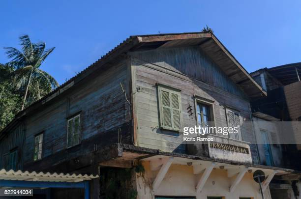 Old old wooden house in paranapiacaba street in brazil