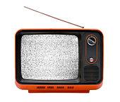 Old orange television with interruption