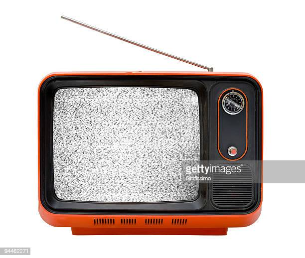 Old orange television with interruption