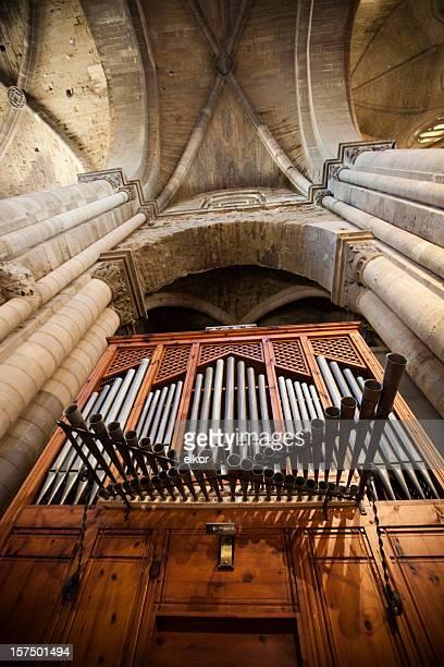 Old organ in La Seu Vella cathedral, Lleida, Spain