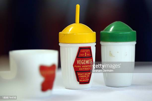 Old packaging jars of Vegemite are seen during a press call to celebrate the Vegemite brand's 90th year at the Vegemite factory on October 24 2013 in...