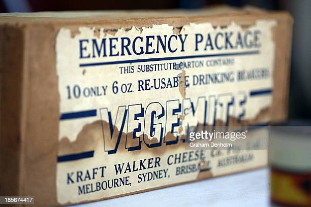 Old packaging of Vegemite is seen during a press call to celebrate the Vegemite brand's 90th year at the Vegemite factory on October 24 2013 in...