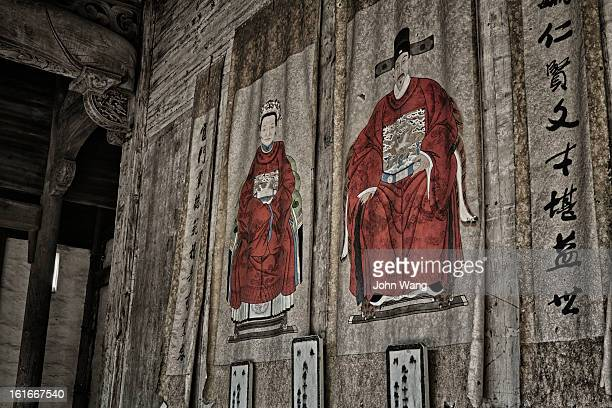 Old paintings in an ancestral temple, China