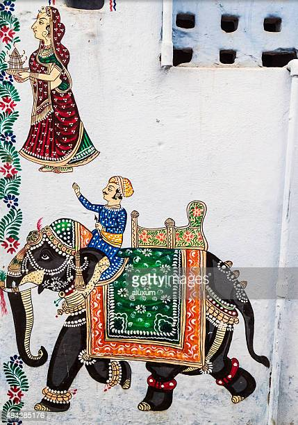 Old paintings on houses in Udaipur Rajasthan India
