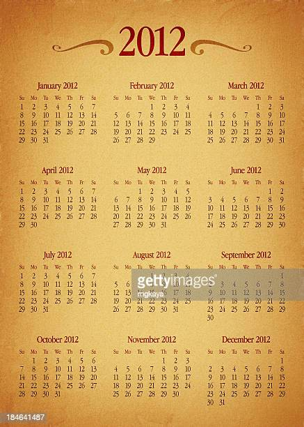 Old Paper Calendar: Year 2012